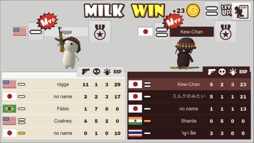 ミルクチョコオンラインの戦績画面