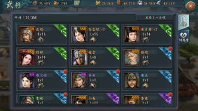 新三国志の武将一覧