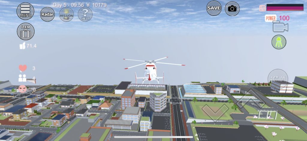 サクラスクールシュミレーターのヘリコプター 浮遊中